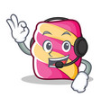 with headphone marshmallow character cartoon style vector image
