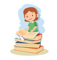 young girl learning and reading book vector image vector image