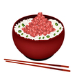 Bowl of Boiled Rice Topping with Chopped Maguro vector image