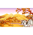 A tiger with a river at the back vector image vector image