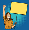 a woman with a gag in her mouth protests vector image vector image