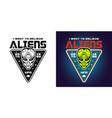 alien green head emblem or t-shirt print vector image vector image