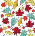 autumn leaf pattern seamless vector image vector image