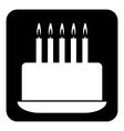 Birthday cake symbol button vector image