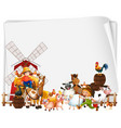 blank paper with windmill and animal farm set vector image vector image