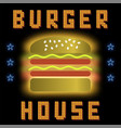 burger house neon colorful sign on black vector image vector image