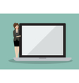 Business woman pointing to the screen of a laptop vector image