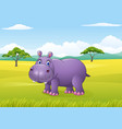 cartoon funny hippo in the african landscape vector image vector image