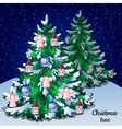 Christmas winter snowy tree with ornaments forest vector image vector image