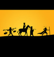 closeup journey to west in silhouette vector image vector image