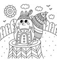 coloring antistress with image squirrel in ethnic vector image vector image