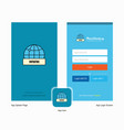 company internet splash screen and login page vector image vector image