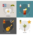 Cuba 4 Flat Icons Square Composition vector image vector image