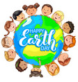 cute kids different nationalities hold planet on vector image