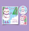 cute snowman happy christmas tags vector image