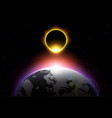 earth and solar eclipse vector image vector image