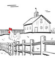 farm house with rooster vector image