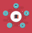 flat icons harmonica audio box earphone and vector image vector image