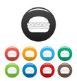 fresh burger icons set color vector image vector image