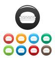 fresh burger icons set color vector image