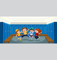 group children at changing room vector image