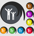 happy family icon sign Symbol on eight colored vector image vector image