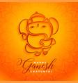 hindu lord ganesha happy ganesh chaturthi vector image vector image