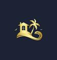home resort palm tree beach gold logo vector image vector image