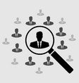 human resource icon search for employees and job vector image vector image