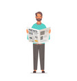 man holding newspaper reading daily news press vector image vector image