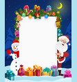 santa claus and snowman with blank christmas card vector image vector image