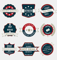 set business labels and ribbons in vintage vector image
