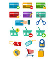 set of credit card icon with many element in vector image