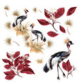 set with graceful birds and leaves vector image