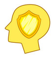 shield inside human head icon cartoon style vector image