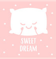 sleeping white pillow vector image