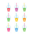 smoothie cartoon collection vector image vector image