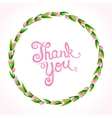 Thank you with wreath of flowers vector image