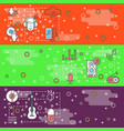 thin line art music web banner template set vector image