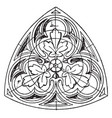 trefoil tracery panel is a gothic design vintage vector image vector image