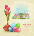vintage greeting card with vase of tulips and vector image
