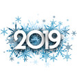 winter 2019 background with blue snowflakes vector image
