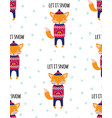 winter pattern with cute fox vector image