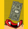 woman eats money pop art style female mouth vector image vector image