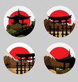 Icons with a Japanese landscape vector image