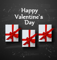 Valentines card White gift box with red ribbon bow vector image