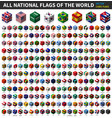 all national flag world cubic isometric vector image vector image