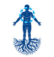 athletic man composed with tree roots and circle vector image