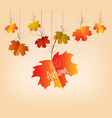 autumn sales banner with colorful leaves hanging vector image