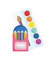 back to school education colored pencils in box vector image
